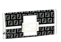 Fendi Wallet 8M0021 Border Zucchino Black & White